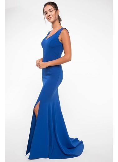 DeFacto Yırtmaç Detaylı Abiye Elbise Lacivert